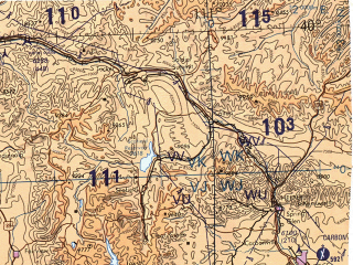 Reduced fragment of topographic map en--tpc--500k--g18-b--(1993)--N040-00_W118-00--N036-00_W111-00 in area of Sevier Lake (dry), Sevier, Colorado; towns and cities Las Vegas, Paradise, Sunrise Manor, Spring Valley, Henderson
