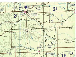 Reduced fragment of topographic map en--tpc--500k--g19-b--(1988)--N040-00_W104-00--N036-00_W097-00 in area of Smoky Hill, Salt Fork, Beaver; towns and cities Wichita, Ponca City, Enid, Stillwater, Liberal