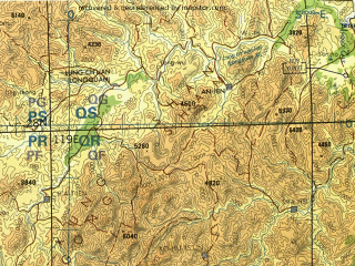 Reduced fragment of topographic map en--tpc--500k--h12-d--(1996)--N028-00_E113-00--N024-00_E119-00 in area of Fengshuba Reservoir; towns and cities Xiamen, Quanzhou, Zhangzhou, Nanping