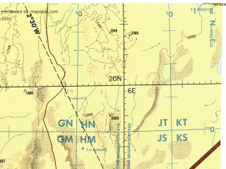 Reduced fragment of topographic map en--tpc--500k--j03-d--(1989)--N020-00_E000-00--N016-00_E006-00; towns and cities Kidal, Tacharan, Taguelalf