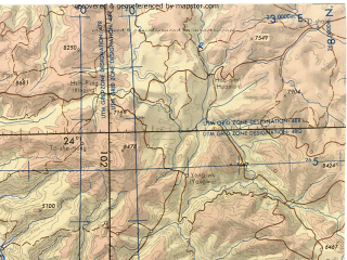 Reduced fragment of topographic map en--tpc--500k--j10-b--(1979)--N024-00_E096-00--N020-00_E102-00 in area of Salween; towns and cities Mandalay, Ban Kiang, Mong Lang, Wan Menglu