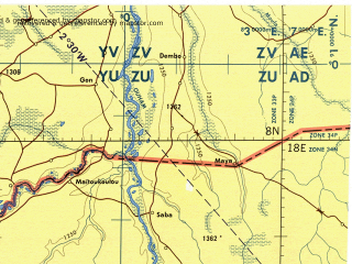 Download topographic map in area of Bossangoa Ngaoundere Bouar