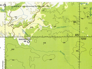 Reduced fragment of topographic map en--tpc--500k--l26-c--(1996)--N004-00_W076-00--N000-00_W070-00 in area of Rio Guayabero, Rio Guayas, Rio Yari; towns and cities Neiva, Campoalegre, Florencia, Garzon, Acacias
