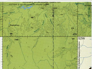 Reduced fragment of topographic map en--tpc--500k--l28-d--(1993)--N004-00_W058-00--N000-00_W052-00 in area of Rio Paru; towns and cities Langoe, Toeleu, Mocambo Do Espirito Santo