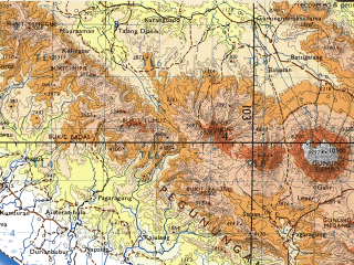 Reduced fragment of topographic map en--tpc--500k--m10-d--(1989)--S004-00_E097-00--S008-00_E103-00; towns and cities Pagaragung, Pahanuma, Pasartalo