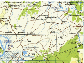 Reduced fragment of topographic map en--tpc--500k--p06-a--(1983)--S016-00_E041-00--S020-00_E047-00 in area of Betsiboka; towns and cities Ambohipaky, Marovoaikely, Antamponala