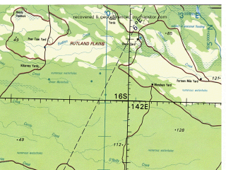 Reduced fragment of topographic map en--tpc--500k--p14-a--(1983)--S016-00_E136-00--S020-00_E142-00 in area of Nicholson, Gregory, Calvert; towns and cities Miranda Downs, Brinard, Riversleigh