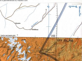 Reduced fragment of topographic map en--tpc--500k--p26-a--(1994)--S016-00_W074-00--S020-00_W068-00 in area of Lago Humaimarca, Lago De Coipasa, Salar De Surire; towns and cities La Paz, Arequipa, Tacna, Arica, Mollendo