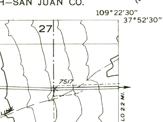 Reduced fragment of topographic map en--usgs--024k--000020--(1958)--N037-52-30_W109-30-00--N037-45-00_W109-22-30