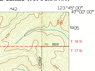 Reduced fragment of topographic map en--usgs--024k--000047--(1957)--N047-00-00_W123-52-30--N046-52-30_W123-45-00; towns and cities Aberdeen, Cosmopolis