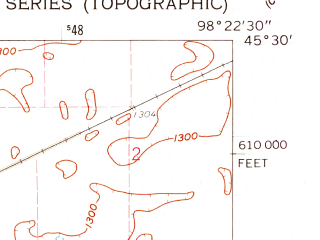 Reduced fragment of topographic map en--usgs--024k--000054--(1960)--N045-30-00_W098-30-00--N045-22-30_W098-22-30; towns and cities Aberdeen