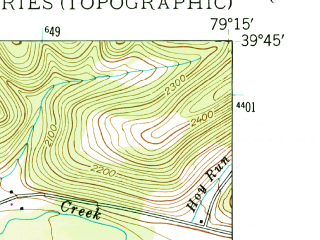 Reduced fragment of topographic map en--usgs--024k--000086--(1947)--N039-45-00_W079-22-30--N039-37-30_W079-15-00; towns and cities Accident, Addison