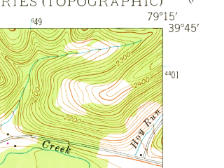 Reduced fragment of topographic map en--usgs--024k--000086--(1948)--N039-45-00_W079-22-30--N039-37-30_W079-15-00; towns and cities Accident, Addison