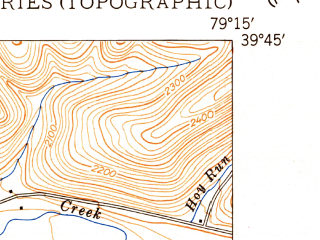 Reduced fragment of topographic map en--usgs--024k--000086--(1949)--N039-45-00_W079-22-30--N039-37-30_W079-15-00; towns and cities Accident, Addison