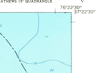Reduced fragment of topographic map en--usgs--024k--000090--(1957)--N037-22-30_W076-30-00--N037-15-00_W076-22-30; towns and cities Gloucester Point