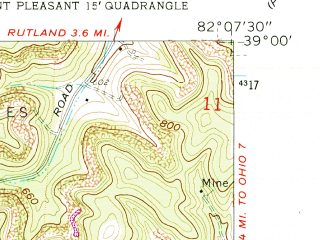 Reduced fragment of topographic map en--usgs--024k--000178--(1960)--N039-00-00_W082-15-00--N038-52-30_W082-07-30