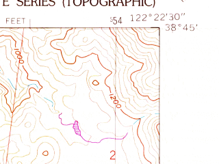 Reduced fragment of topographic map en--usgs--024k--000236--(1958)--N038-45-00_W122-30-00--N038-37-30_W122-22-30