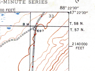 Reduced fragment of topographic map en--usgs--024k--000297--(1947)--N047-22-30_W088-30-00--N047-15-00_W088-22-30; towns and cities Ahmeek, Copper City