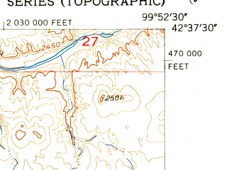 Reduced fragment of topographic map en--usgs--024k--000309--(1954)--N042-37-30_W100-00-00--N042-30-00_W099-52-30