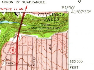 Reduced fragment of topographic map en--usgs--024k--000339--(1958)--N041-07-30_W081-37-30--N041-00-00_W081-30-00; towns and cities Akron, Barberton, Fairlawn