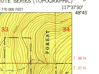 Reduced fragment of topographic map en--usgs--024k--000344--(1952)--N048-45-00_W117-45-00--N048-37-30_W117-37-30