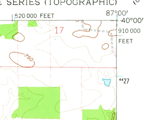 Reduced fragment of topographic map en--usgs--024k--000358--(1961)--N040-00-00_W087-07-30--N039-52-30_W087-00-00; towns and cities Alamo, Waveland