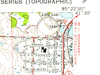 Reduced fragment of topographic map en--usgs--024k--000424--(1956)--N041-30-00_W085-30-00--N041-22-30_W085-22-30; towns and cities Albion