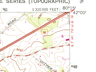 Reduced fragment of topographic map en--usgs--024k--000425--(1959)--N042-00-00_W080-22-30--N041-52-30_W080-15-00; towns and cities Albion, Cranesville, Platea