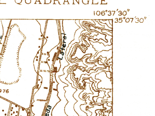 Reduced fragment of topographic map en--usgs--024k--000442--(1934)--N035-07-30_W106-45-00--N035-00-00_W106-37-30; towns and cities Albuquerque, South Valley
