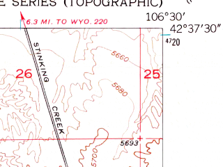 Reduced fragment of topographic map en--usgs--024k--000453--(1950)--N042-37-30_W106-37-30--N042-30-00_W106-30-00