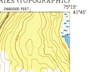 Reduced fragment of topographic map en--usgs--024k--000463--(1949)--N041-45-00_W075-22-30--N041-37-30_W075-15-00
