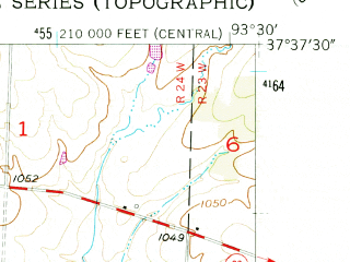 Reduced fragment of topographic map en--usgs--024k--000479--(1956)--N037-37-30_W093-37-30--N037-30-00_W093-30-00; towns and cities Aldrich