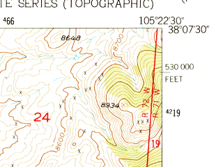 Reduced fragment of topographic map en--usgs--024k--000482--(1957)--N038-07-30_W105-30-00--N038-00-00_W105-22-30