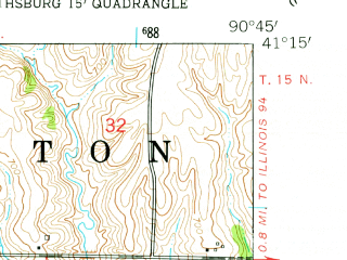 Reduced fragment of topographic map en--usgs--024k--000492--(1953)--N041-15-00_W090-52-30--N041-07-30_W090-45-00