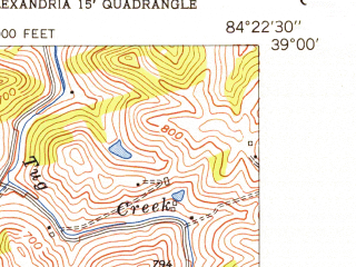 Reduced fragment of topographic map en--usgs--024k--000509--(1953)--N039-00-00_W084-30-00--N038-52-30_W084-22-30; towns and cities Alexandria, Claryville, Fairview, Latonia Lakes