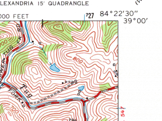 Reduced fragment of topographic map en--usgs--024k--000509--(1961)--N039-00-00_W084-30-00--N038-52-30_W084-22-30; towns and cities Alexandria, Claryville, Fairview, Latonia Lakes