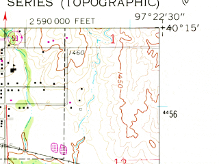 Reduced fragment of topographic map en--usgs--024k--000513--(1960)--N040-15-00_W097-30-00--N040-07-30_W097-22-30; towns and cities Alexandria, Gilead