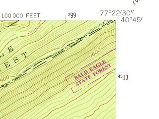 Reduced fragment of topographic map en--usgs--024k--000522--(1959)--N040-45-00_W077-30-00--N040-37-30_W077-22-30