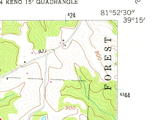 Reduced fragment of topographic map en--usgs--024k--000526--(1960)--N039-15-00_W082-00-00--N039-07-30_W081-52-30