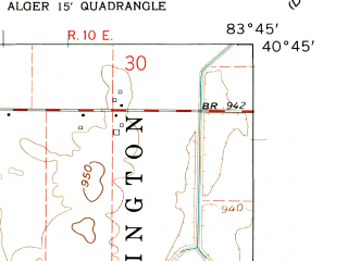 Reduced fragment of topographic map en--usgs--024k--000531--(1961)--N040-45-00_W083-52-30--N040-37-30_W083-45-00; towns and cities Alger, Mcguffey
