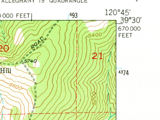 Reduced fragment of topographic map en--usgs--024k--000589--(1949)--N039-30-00_W120-52-30--N039-22-30_W120-45-00