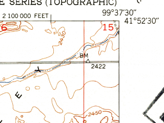 Reduced fragment of topographic map en--usgs--024k--000672--(1952)--N041-52-30_W099-45-00--N041-45-00_W099-37-30