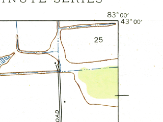 Reduced fragment of topographic map en--usgs--024k--000677--(1945)--N043-00-00_W083-07-30--N042-52-30_W083-00-00; towns and cities Almont, Dryden
