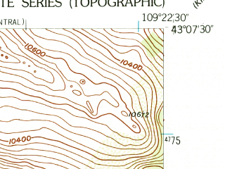 Reduced fragment of topographic map en--usgs--024k--000703--(1952)--N043-07-30_W109-30-00--N043-00-00_W109-22-30