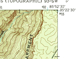 Reduced fragment of topographic map en--usgs--024k--000752--(1947)--N035-22-30_W086-00-00--N035-15-00_W085-52-30