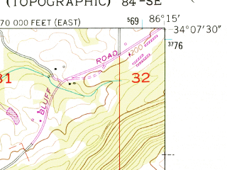 Reduced fragment of topographic map en--usgs--024k--000774--(1958)--N034-07-30_W086-22-30--N034-00-00_W086-15-00; towns and cities Altoona, Walnut Grove