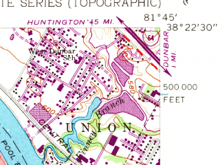 Reduced fragment of topographic map en--usgs--024k--000784--(1958)--N038-22-30_W081-52-30--N038-15-00_W081-45-00; towns and cities Alum Creek, Tornado