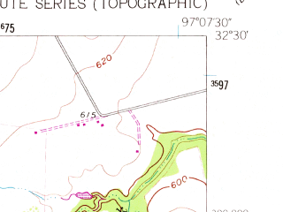 Reduced fragment of topographic map en--usgs--024k--000794--(1961)--N032-30-00_W097-15-00--N032-22-30_W097-07-30; towns and cities Alvarado