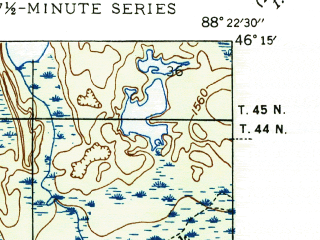 Reduced fragment of topographic map en--usgs--024k--000826--(1947)--N046-15-00_W088-30-00--N046-07-30_W088-22-30