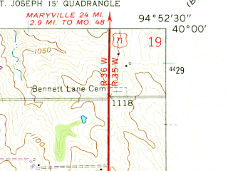 Reduced fragment of topographic map en--usgs--024k--000827--(1961)--N040-00-00_W095-00-00--N039-52-30_W094-52-30; towns and cities Amazonia
